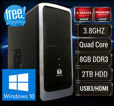 AMD Quad Core Radeon R7 HD 2TB HDMI Windows 10 Gaming Tower Desktop Computer PC