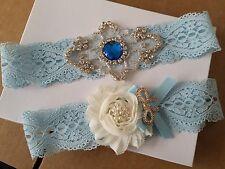 Wedding Garter Set - SOMETHING BLUE IVORY Shabby Flower Wedding Garter Set