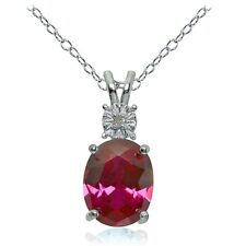 Sterling Silver Created Ruby and Diamond Accent Oval Necklace