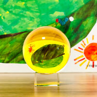 Yellow Asian Rare Natural Quartz Magic Crystal Healing Ball Sphere 40mm + Stand