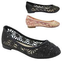 Womens Rhinestone Glitter Mesh Ballet Ballerina Flats Slip On Cut Off Dress Shoe