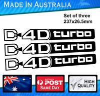 D4D Turbo Satin Black Decal fits Toyota Prado Diesel Landcruiser 4WD Set Of 3
