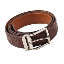 """New $350 SANTONI Brown Boarskin Leather Belt Adjustable Strap / 44"""""""