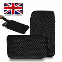 Carbon Fiber Leather Slim Pull Tab Phone Cover Pouch For BLU C6L
