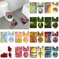 3Pcs Floral Plant Bathroom Non-Slip Pedestal Rug+Lid Toilet Cover+Bath Mat Set