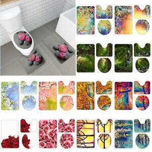 3PCS Flowers Plant Bathroom Carpet Pedestal Rug Lid Toilet Cover Bath Mat Set