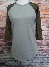 LuLaRoe gray basball tee shirt metallic gold sleeve size M