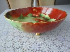 Vintage Limoges France Three Gild Footed Fruit Bowl With Hand Painted Strawberry