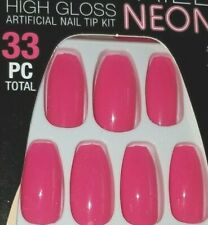L.A. COLORS NAIL FRILL NEON GLUE ON NAILS 30 LONG COFFIN TIP *COSMOPOLITAN*
