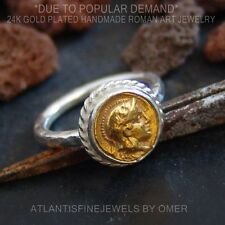 FREE SIZE 925 Silver Ancient Roman Art 2 Tone Coin Ring Turkish Jewelry By Omer