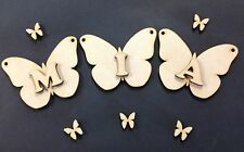 D21x 100mm Butterfly Bunting & 1x Letter Craft Shapes Blanks Laser Cut MDF Hang