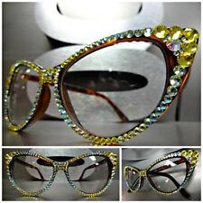 CLASSIC VINTAGE RETRO 60's CAT EYE Clear Lens EYE GLASSES CRYSTAL Frame Handmade