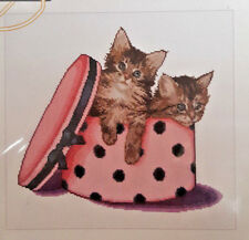 THEA GOUVERNEUR CROSS STITCH KIT 734 Kitten Twins Cats in Hat Box