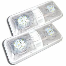 2x NEW RV LED 12v CEILING FIXTURE DOUBLE DOME LIGHT FOR CAMPER TRAILER RV MARINE