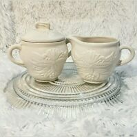 Vintage Set of California Pottery Creamer & Sugar White Ceramic Panel Grape