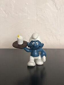 Smurfs 20162 Waiter Smurf Drink Brown Tray Vintage Figure PVC Toy Figurine Peyo