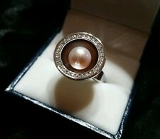 Misaki Mabe Pearl Stunning Cocktail Ring with Silver and Sparkling CZs Size N