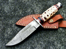 """Authentic HAND FORGED DAMASCUS 10"""" BOWIE HUNTING KNIFE - CAMEL BONE - WD-9159"""