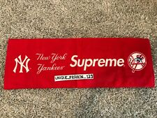 SUPREME X NEW YORK YANKEES HAND TOWEL RED X 47 BRAND SS15 2015 BOX LOGO BASEBALL