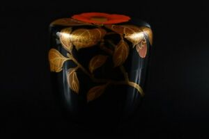 L8437: XF Japan Wooden Lacquer ware Inlaid mother-of-pearl TEA CADDY Keizan made