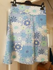 Pretty Chilli Pale Blue Multi Floral A Line Skirt, Wide Waistband, Size 10, VGC