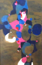 Huge Original Mid Century Modern Atomic Framed Painting Pollock Style Vintage
