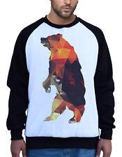 Men/'s Geometric Fire Bear White Raglan Hoodie Flame Panda Wildlife Hunting B132