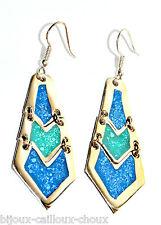 Boucles d'oreilles argent d'alpaca poinçonné émail bleu vert bijou earring