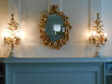 Pair VTG Italian Tole Gilt Topiary Candelabra Lamps Girandoles Hollywood Regency