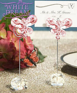 Pink - Butterfly Crystal - Place Card Holder Wedding Favours | Table Decoration