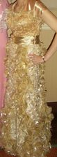 INTERLUDE GOLD METALLIC PROM PAGEANT DRESS GOWN SIZE 8 RHINESTONES SEQUINS