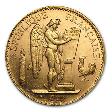 1878-1914 France Gold 100 Francs Lucky Angel AU - SKU #62557