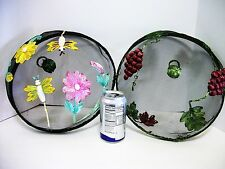 2 Food Covers Domes Picnic Screens Dragonfly & Grapes Wire Fly Screen Colorful!