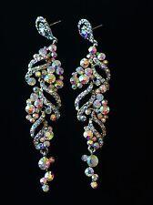 EARRING using Swarovski Crystal Dangle Drop Wedding Bridal Fancy Silver SW22 AB