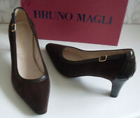 BRUNO MAGLI Designer Brown Gold Buckle Pump Heels Court Shoes Size EU 38 UK 5