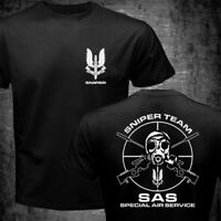 New SAS Special Air Service British Army Special Forces Sniper Black T shirt