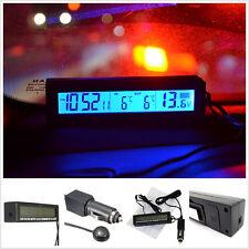 Car Thermometer In/Out &Voltmeter Clock Digital Blue Backlit Backlight Ice Alert