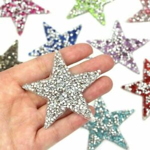Rhinestone Sparkle Star Space Patch Patches Iron on Alphabet Embroidery Clothes