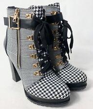Just Fab Ladies Textile Hiker Platform Buckle Up Ankle Boots Winter Lace Up UK 8