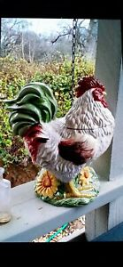 SAKURA ~ CHICKEN COOKIE JAR ~ CREAM ~ SPRING FLOWER GARDEN ~ HAND PAINTED