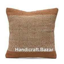 Pillow Case Jute Square Vintage Ethnic Sofa Car Home Decor Cushion Cover Indian