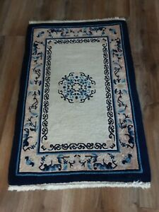 Antique Chinese Rug Art Deco Oriental Wool Peking Vintage Hand Knotted Rug