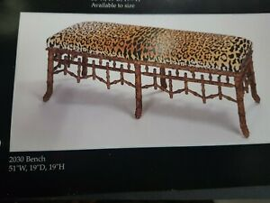 FAUX BAMBOO WOOD FRAME ONLY LONG BENCH NEW