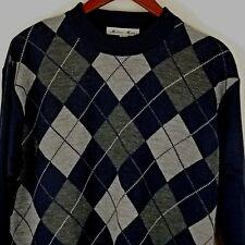 Milano Moda Argyle Sweater Size Large Navy  KL-610
