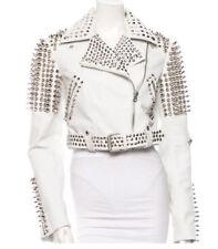 Women's White Punk Style Studded Jacket Ladies Fashion Real Soft Leather Jacket