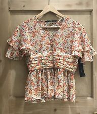 ZARA printer Blouse With FRILLS Size XS 6 BNWT orange red