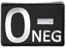 O NEGATIVE Blood ID Patch - By Ivamis Trading - 3x2 inch P4328 Free Shipping