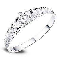 Women Jewelry Crown Cuff Bangle  925 Silver Plated Noble Crown Bracelet 6.5""