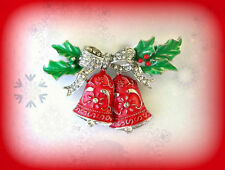 VINTAGE STYLE BIG SILVER CHRISTMAS BELLS RHINESTONE & RED ENAMEL GIFT PIN BROOCH