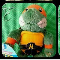 """Teenage Mutant Ninja Turtles MIKEY 1989 Suction Cups 9"""" Stuffed Plush TMNT Tags"""